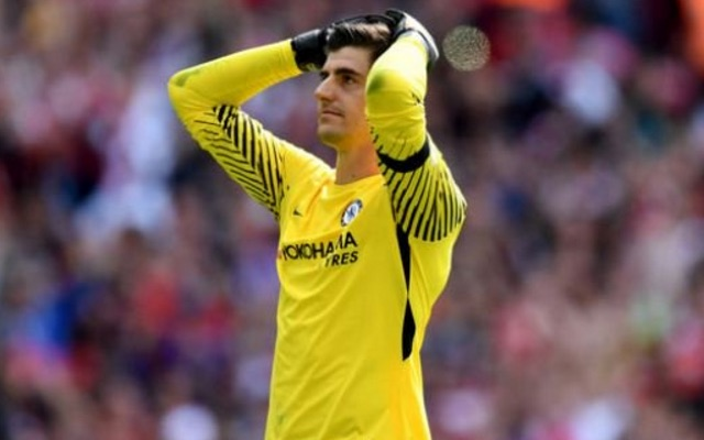 Thibaut Courtois reacts to missing penalty vs Arsenal