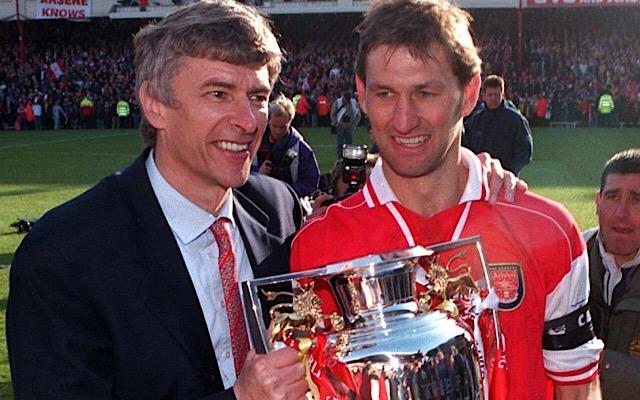 Arsenal manager Arsene Wenger and Tony Adams