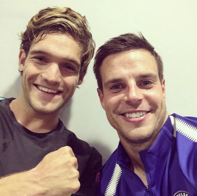 Marcos Alonso and Cesar Azpilicueta wait for Champions League drugs test