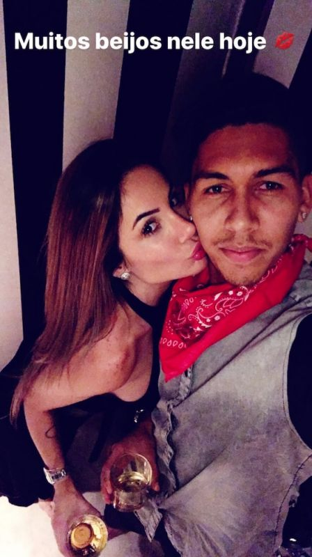 Roberto Firmino and wife Larissa Pereira drinking at Liverpool star's 26th birthday party