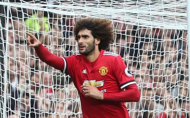 Fellaini celebrates a goal for Man United