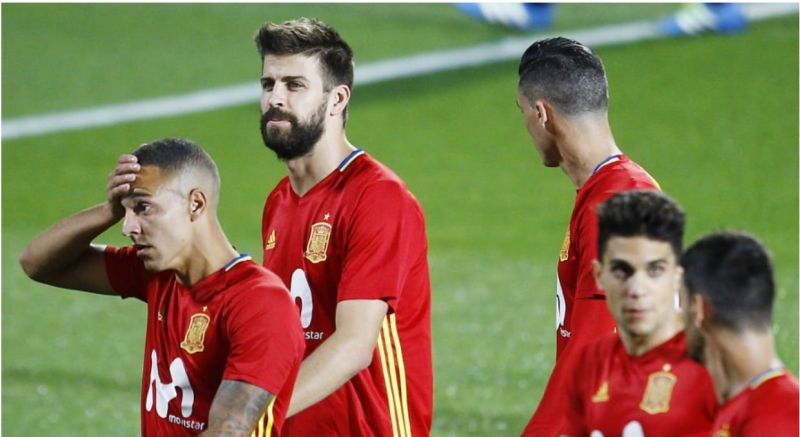 Pique in Spain training