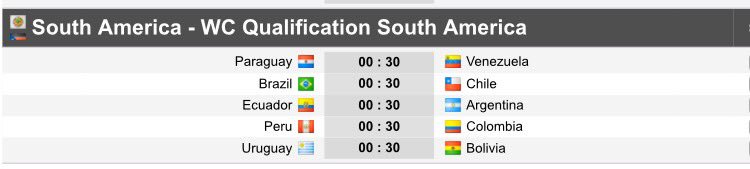 south american fixtures