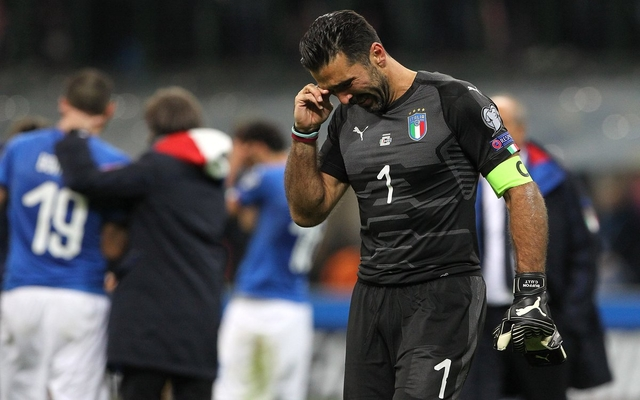 Buffon crying Italy Sweden