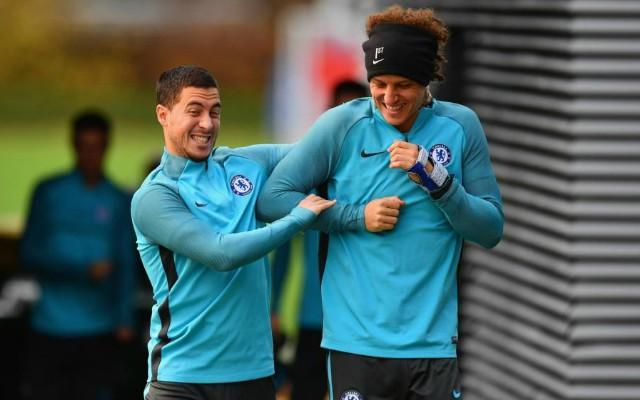 Eden Hazard and David Luiz