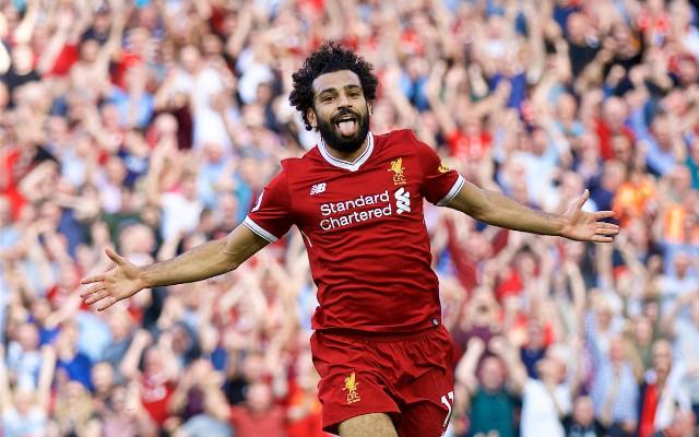 Salah celebrates a goal for Liverpool
