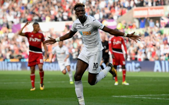 Tammy Abraham celebrates a goal for Swansea. West Brom vs Swansea TV channel