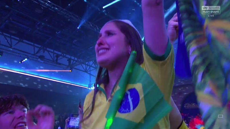 Diogo Portela WAG flying the Brazil flag