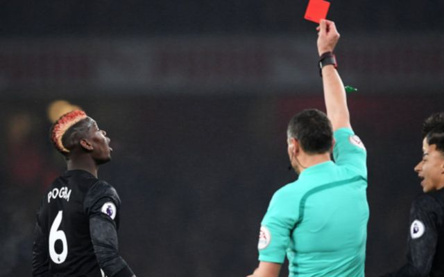Man United's Paul pogba getting sent off against Arsenal