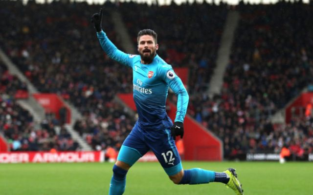Olivier Giroud celebrating his strike against Southampton on Sunday
