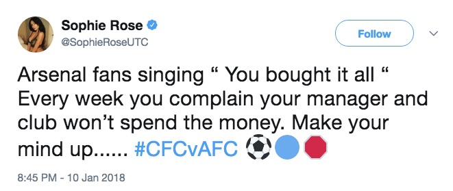 Chelsea fan Sophie Rose sums up hypocritical Arsenal fans in one tweet