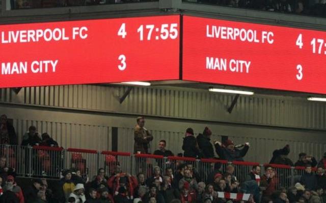 Anfield scoreboard after Liverpool beat Manchester City 4-3