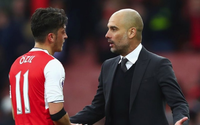 Mesut Ozil and Pep Guardiola in Arsenal vs Manchester City