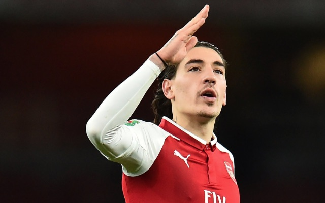 Arsenal right back Hector Bellerin gestures