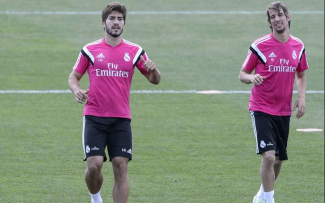 Real Madrid's Lucas Silva and Fabio Coentrao