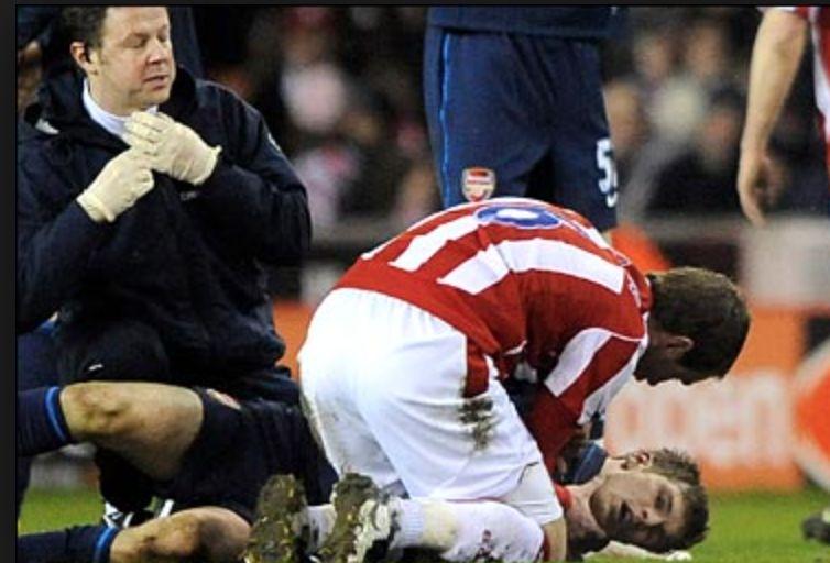 Aaron Ramsey suffered a horrific leg break against Stoke City in 2010.