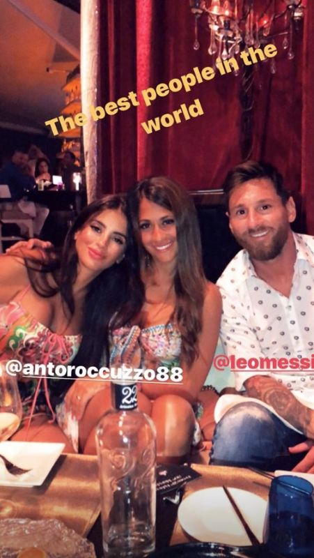 Chelsea WAG Daniella Semaan (left) poses with Lionel Messi with wife Antonella Roccuzzo