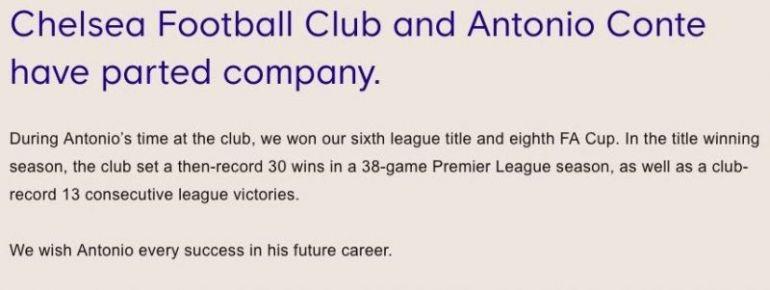 Chelsea statement on Antonio Conte's departure
