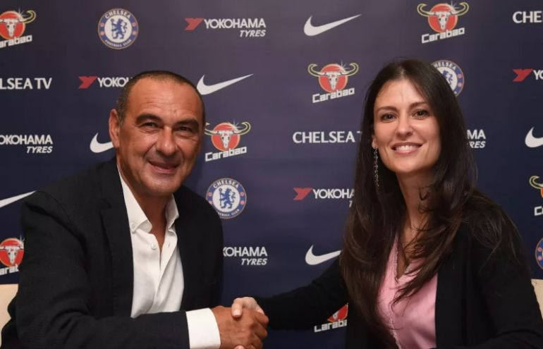 New Chelsea boss Maurizio Sarri poses with Marina Granovskaia