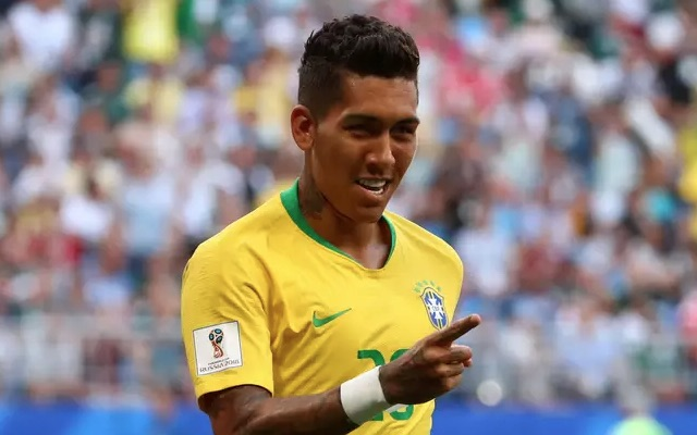 Roberto Firmino celebrates Brazil goal at World Cup