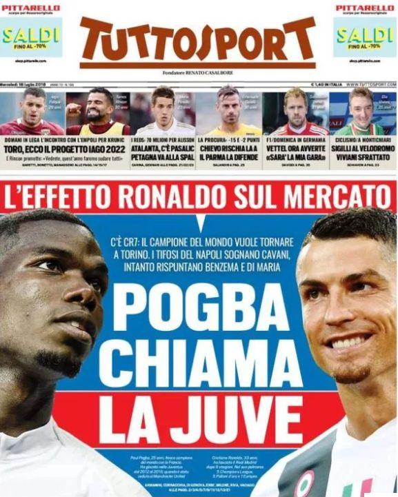 Pogba and Ronaldo on Tuttosport