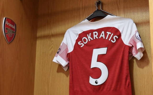 The Arsenal shirt of Sokratis Papastathopoulos