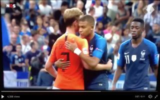 187acd7cf Video  Kylian Mbappe and Frenkie De Jong swap shirts after young stars  impress in Nations League tie