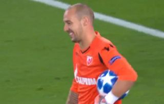 5efb50bace46 Video  Even Red Star Belgrade s goalkeeper can t help but smile after  Neymar s free-kick sails past him