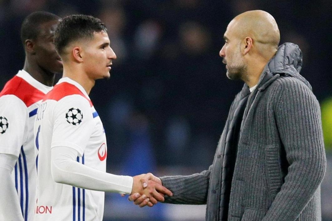 Pep Guardiola and Houssem Aouar