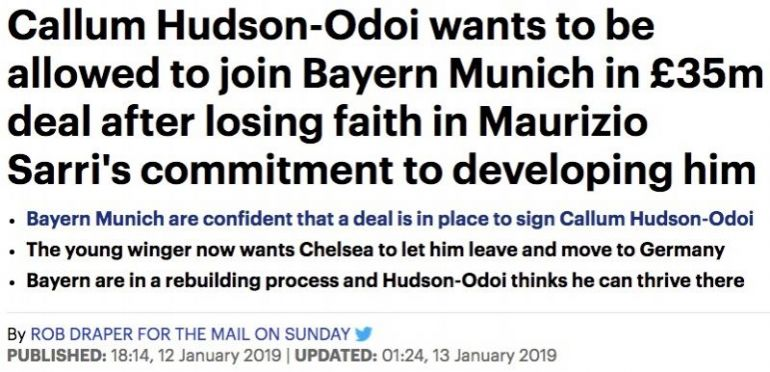 The Mail on Sunday report that Callum Hudson-Odoi wants to leave Chelsea