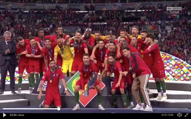 video ronaldo lifts nations league trophy with portugal ronaldo lifts nations league trophy