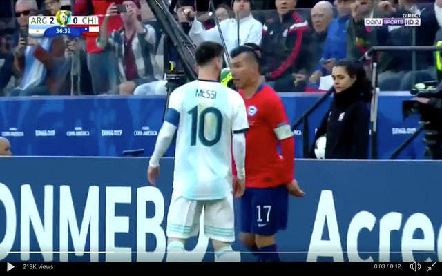 Video Messi Shown Straight Red Card For Altercation With Medel