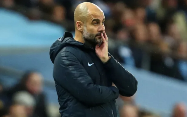 Pep Guardiola looks on worryingly from the sideline
