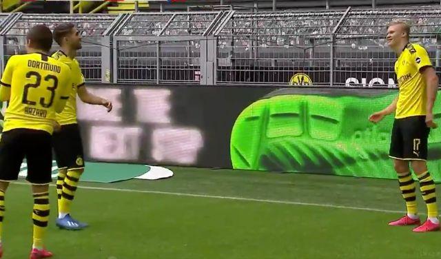 for Video: awkward goal celebration after Dortmund Haaland
