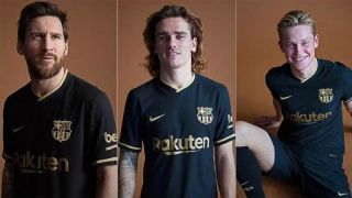 photos barcelona unveil new away kit for 2020 21 season photos barcelona unveil new away kit