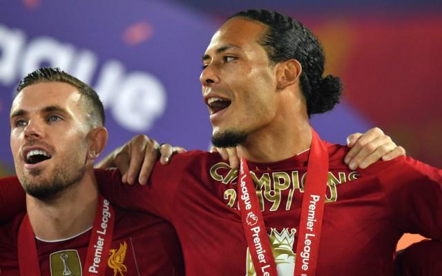 to trophy during Dijk Van haters  message Liverpool