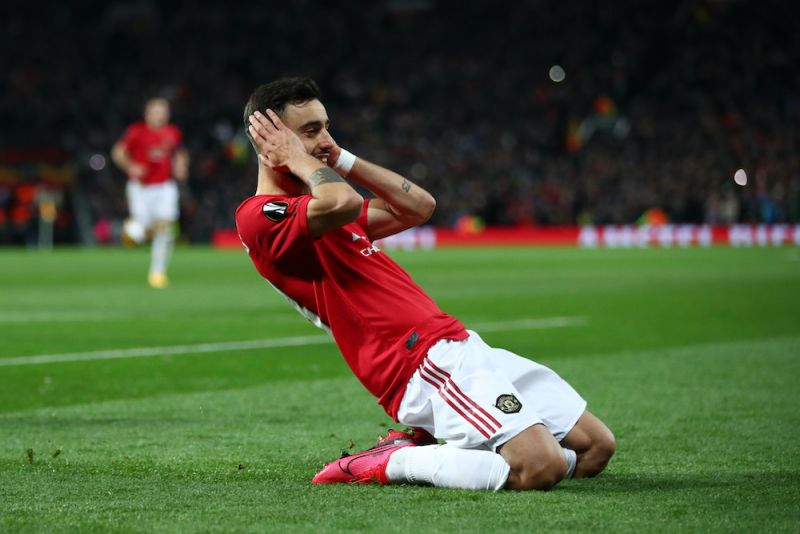 Bruno Fernandes trademark celebration for Man United