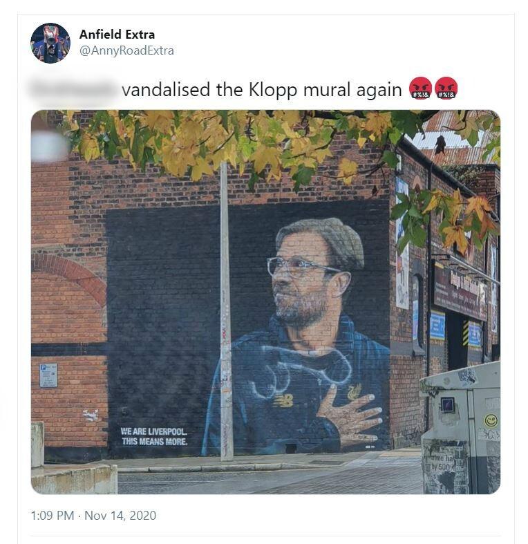 Jurgen Klopp mural defaced