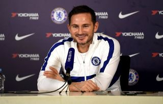 Lampard laughing and smiling in Chelsea press conference