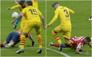 Video: Barcelona's Pique forced off after nasty blow to the knee