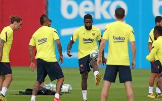 umtiti griezmann barcelona training session