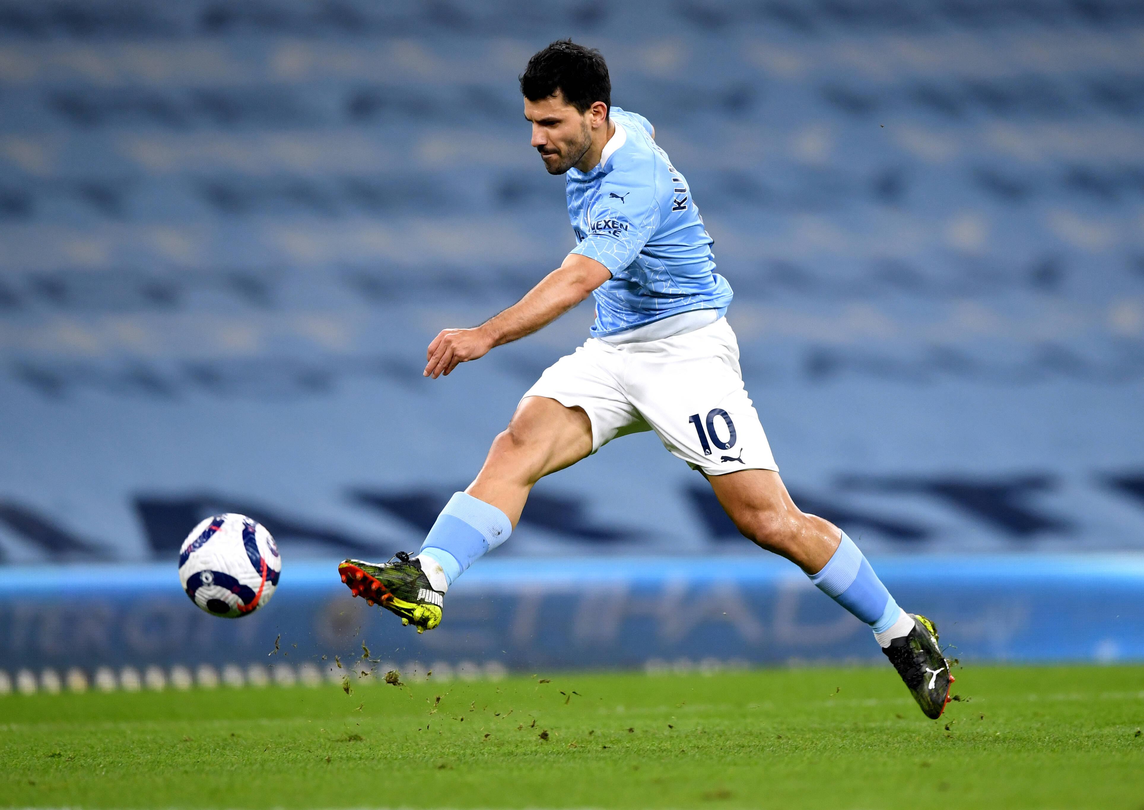 Manchester City v Southampton - Premier League - Etihad Stadium Manchester City s Sergio Aguero has a shot on goal durin