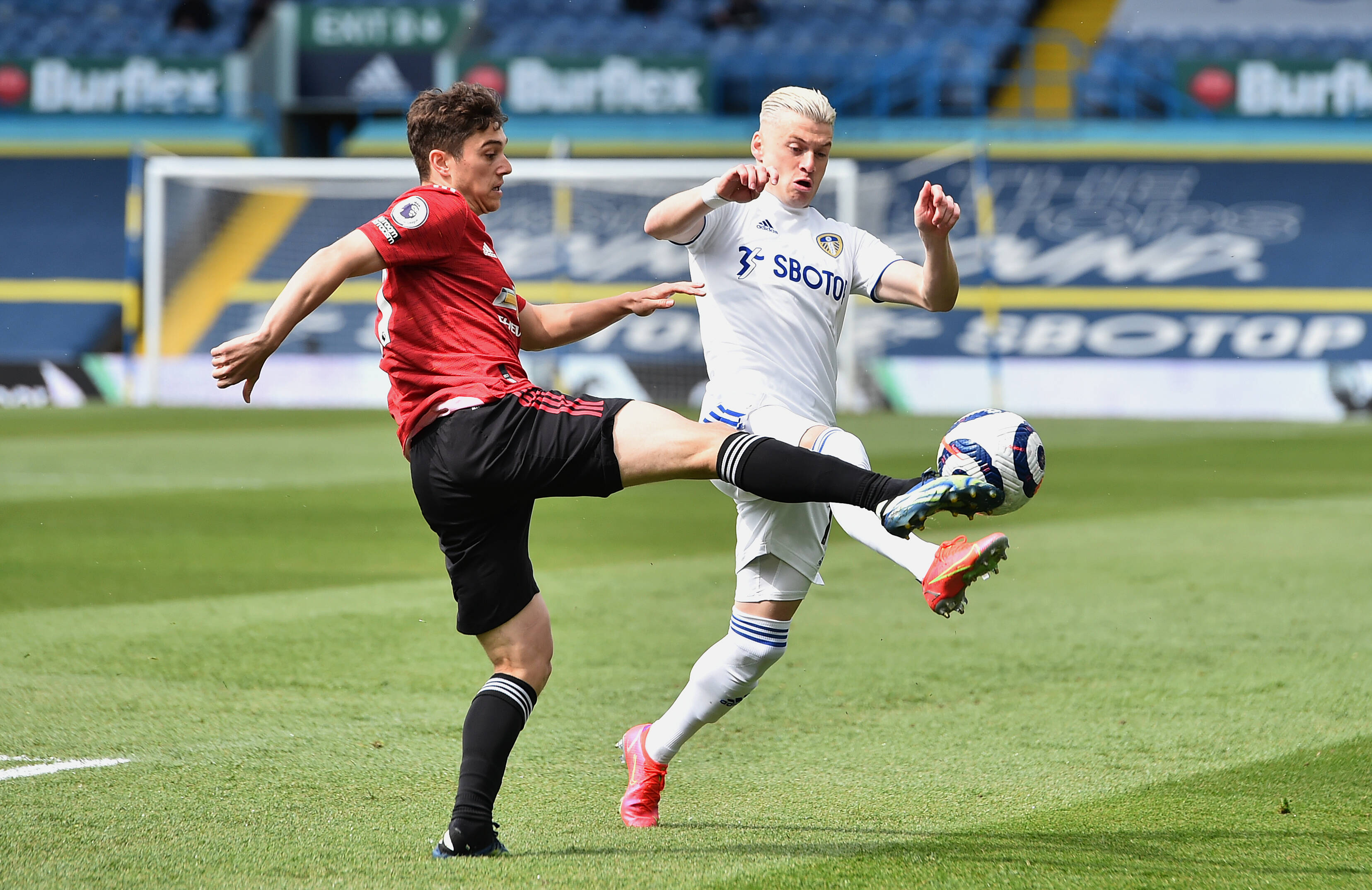 James in action for Manchester United against Leeds