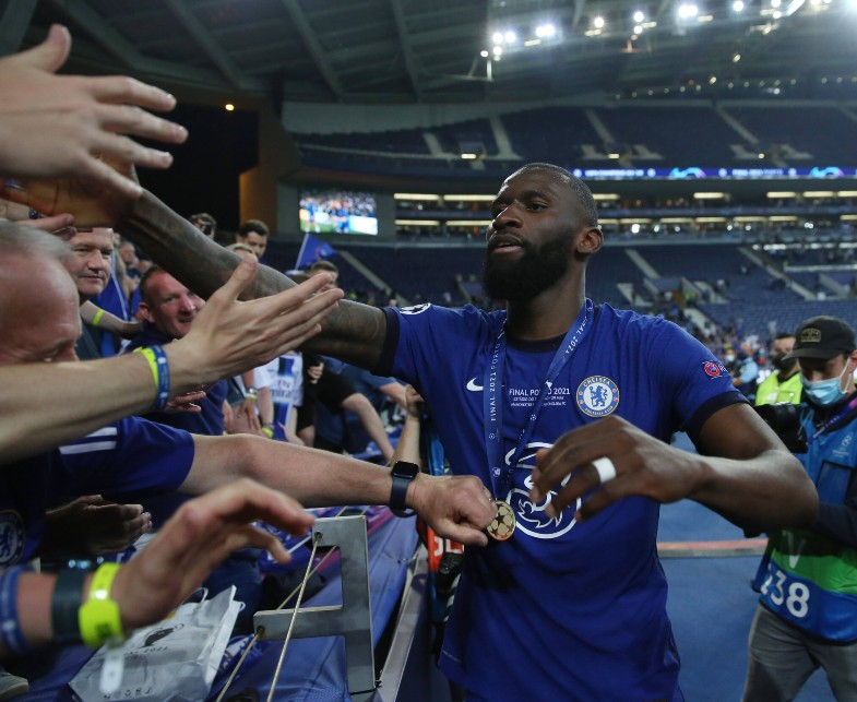 Rudiger with Chelsea fans