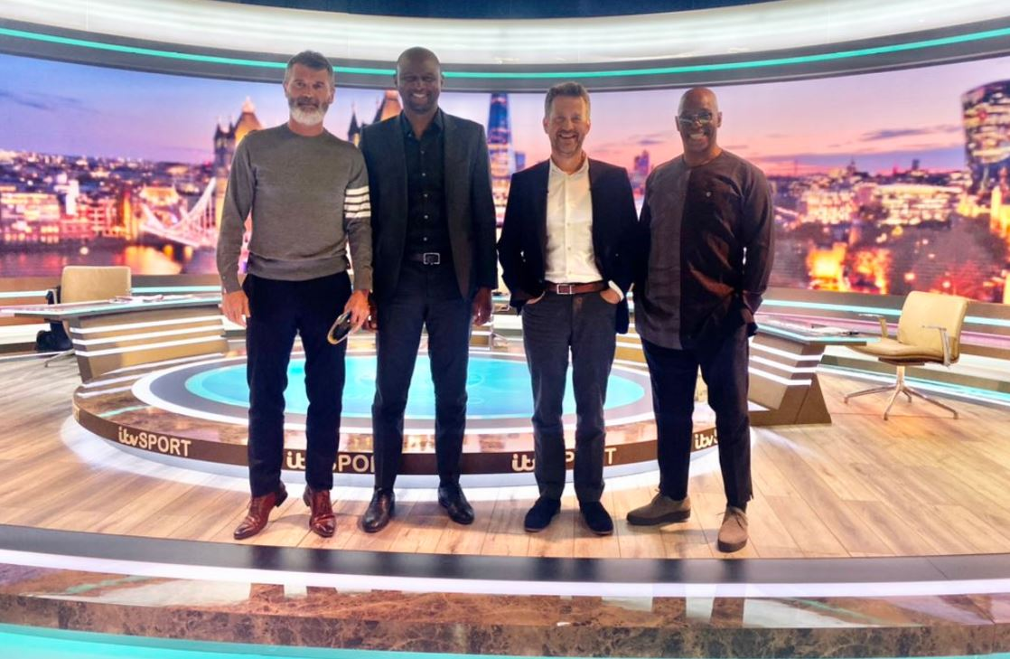 Mark Pougatch posted a photo of himself with Roy Keane, Patrick Vieira and Ian Wright