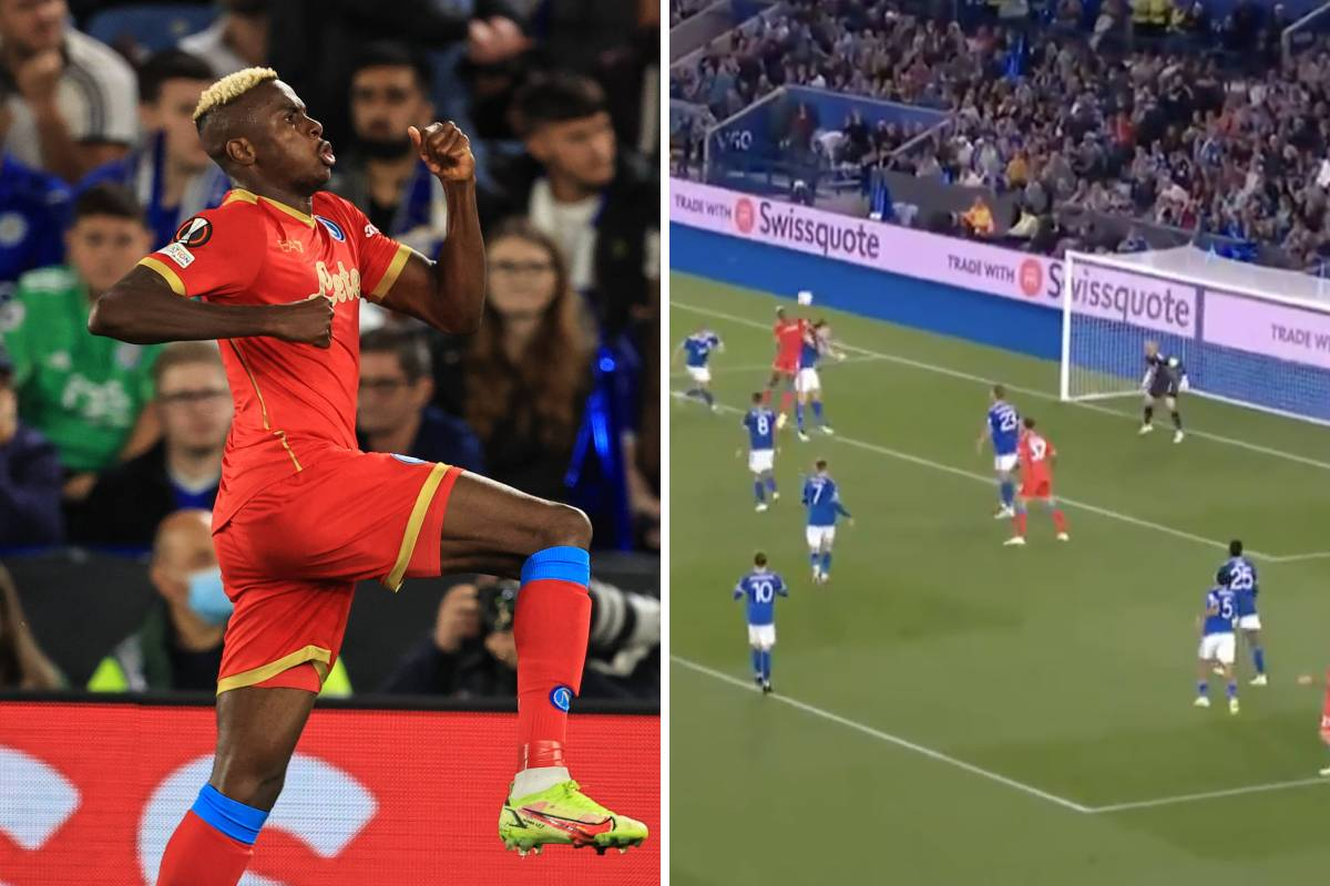 (Video) Victor Osimhen nets superb header to peg Leicester City back and earn Napoli a point